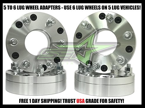 .5 to 6x5.5 | 2 Inch Thick | 12x1.5 Studs | 5x114.3 to 6x139.7 | Use 6 Lug Wheels On 5 Lug Car (6 Wheel Pattern)