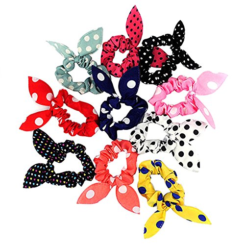 Korean Tie (Academyus 10Pcs Rabbit Ear Hair Tie Bands accessories Japan Korean Style Ponytail Holder)