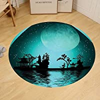 Gzhihine Custom round floor mat Asian Decor Asia Landscape With Moon Stars Meditational Calm Night Sky Holiday Festive Artistic Bedroom Living Room Dorm Dark Teal and Seafoam