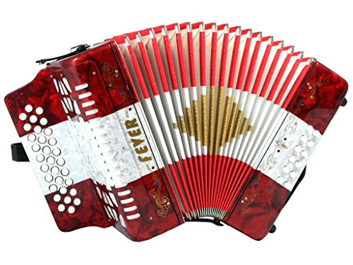Fever F3112-R/W/R Button Accordion with 31 Keys and 12 Bass on GCF Key, Red/White by Fever