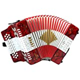 Fever F3112-R/W/R Button Accordion with 31 Keys and 12 Bass on GCF Key, Red/White