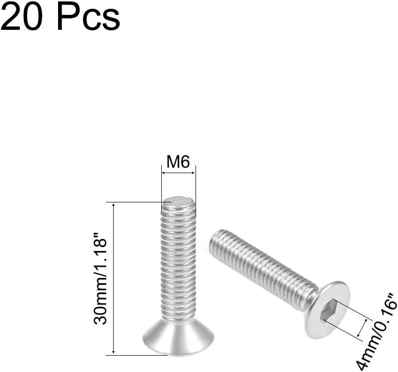 uxcell M6x100mm 304 Stainless Steel Flat Head Hex Socket Cap Screws DIN7991 10pcs