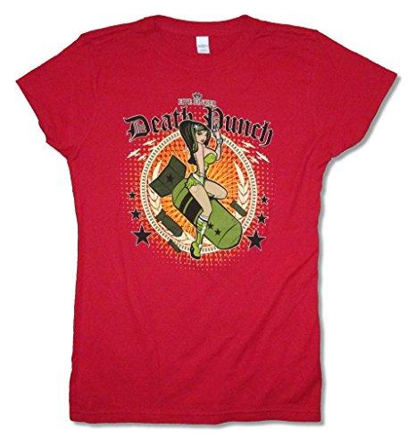 Five Finger Death Punch Bomber Juniors Red Babydoll T Shirt (XL)
