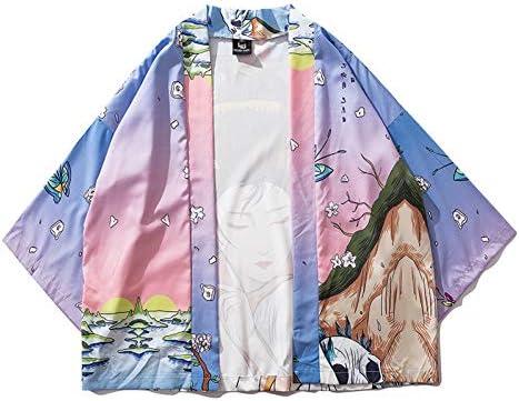 シャツ カーディガン メンズ 夏 七分袖 重ね着 レトロ 日式道服 和服 プリント 花火大会 日常 温泉 文化祭 開襟シャツ コート 和風 和式パーカー 薄手 おおきいサイズ ゆったり おしゃれ かわいい カジュアル シンプル 涼しい お祭り