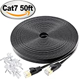Jadaol Cat 7 Ethernet Cable 50 ft Black – 10GB fastest Shielded (STP) Computer Internet Cable - Flat Lan Network Cable With Snagless RJ45 Connectors– 50 feet Black ( 15 Meters )