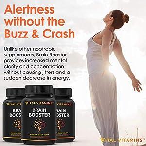 Brain Supplement Nootropics Booster - Enhance Focus, Boost Concentration, Improve Memory & Clarity For Men & Women, Ginkgo Biloba, DMAE, Mind Enhancement, IQ Neuro Energy, Vitamin B12, Bacopa Monnieri