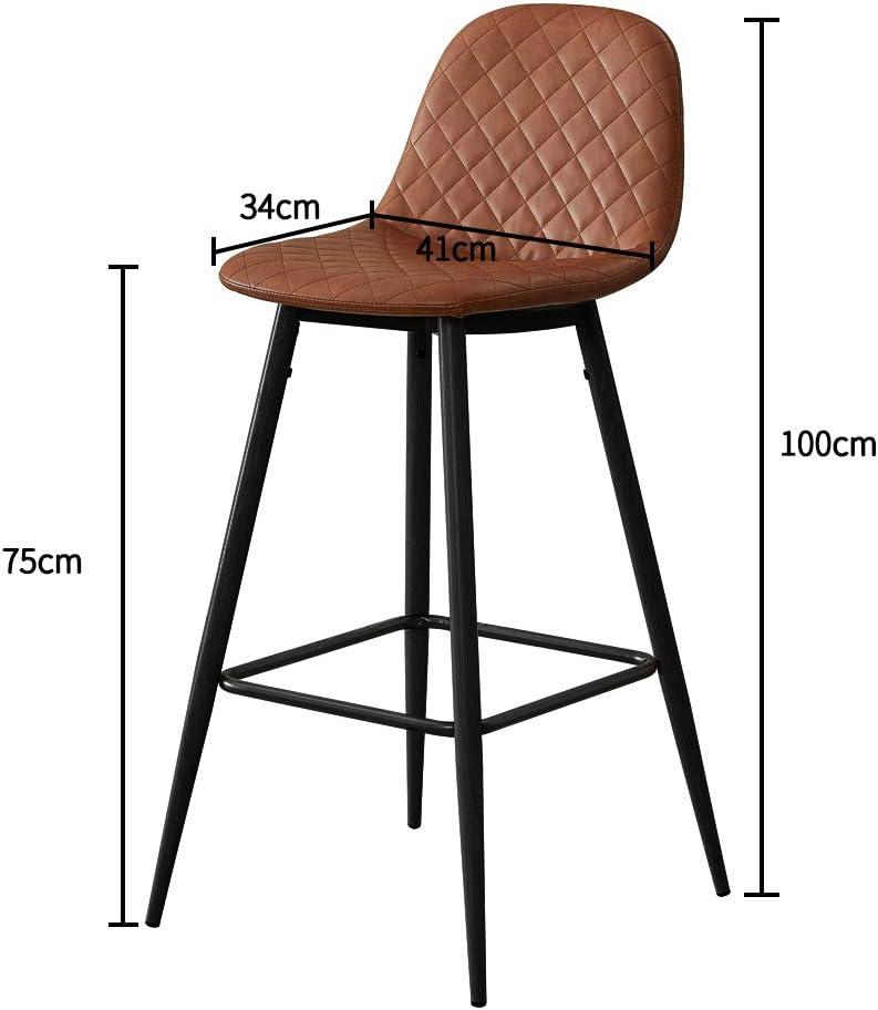 TUKAILAI 2PCS Barstools Dark Grey Breakfast Chairs Kitchen Counter Stools Bar Chairs Stools Kitchen Chairs Bar Stools Height 91cm