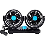 Kedera 12V 360 Degree Rotation Adjustable Dual Head Car Auto Cooling Air Fan- Powerful Quiet 2 Speed Rotatable Dashboard Electric Fan with Summer Cooling Air Circulator