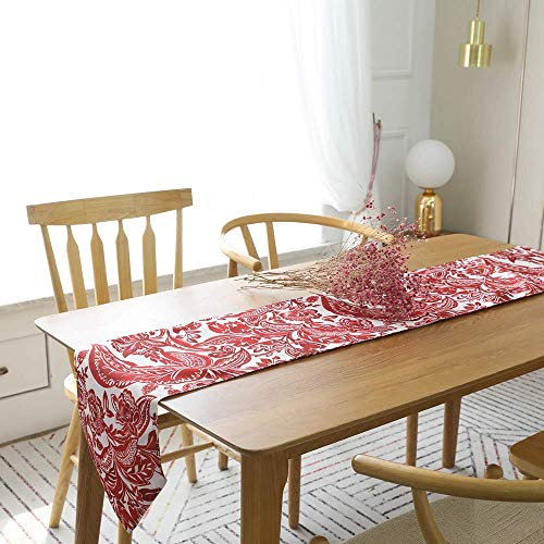 (Red Table Runner Non Slip Heat Insulation Dining Decoration Modern Simplicity Polyester for Holiday Decoration Wedding Dinner TV Cabinet Party Coffee)