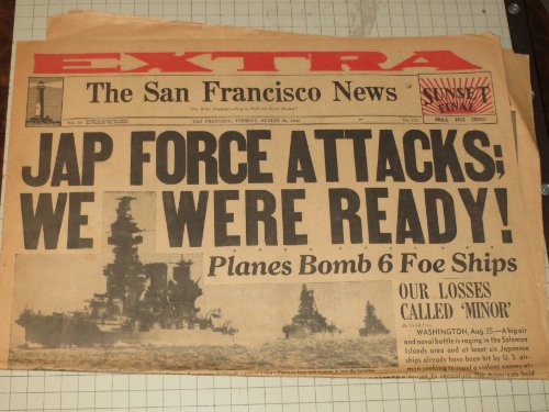 1942 San Francisco Chronicle: Battle of Solomon Islands - Battle of Stalingrad - Guadalcanal - World War II