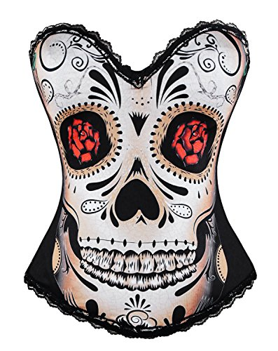 Charmian Women's Punk Day of The Dead Skull Rose Print Rock N Roll Fashion Boned Bustier Top Halloween Costume Corset Skull-Black X-Large