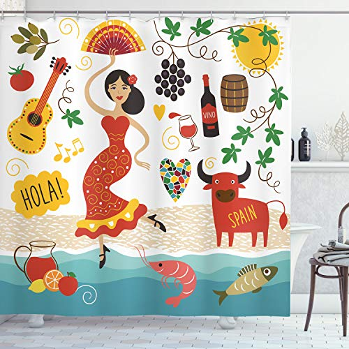 Ambesonne Spain Shower Curtain, Spain Landmarks and Symbols Flamenco Barcelona Spanish Seafood Europe Vacation Travel Theme, Polyester Fabric Bathroom Set with Hooks, 69 W X 70 L Inches, Multicolor