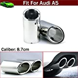 OEM 2pcs Silver Color Stainless Steel Exhaust Muffler Rear Tail Pipe Tip Tailpipe Extension Pipes Custom Fit For Audi A5 2008 2009 2010 2011 2012 2013 2014 2015 2016 2017 2018