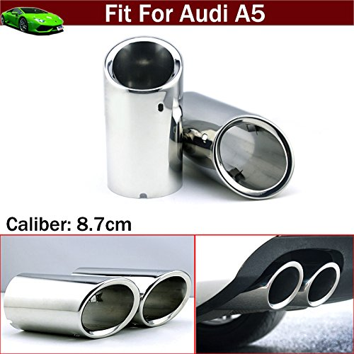 OEM 2pcs Silver Color Stainless Steel Exhaust Muffler Rear Tail Pipe Tip Tailpipe Extension Pipes Custom Fit For Audi A5 2008 2009 2010 2011 2012 2013 2014 2015 2016 2017 2018 TianTian Auto Part Co. Ltd