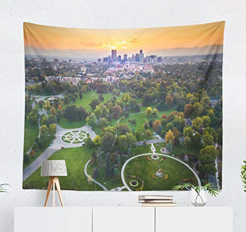 KJONG Sunset Cityscape City Park Colorado Skyline Park Mountain Landscape Decorative Tapestry,50X60 Inches Wall Hanging Tapestry for Bedroom Living Room