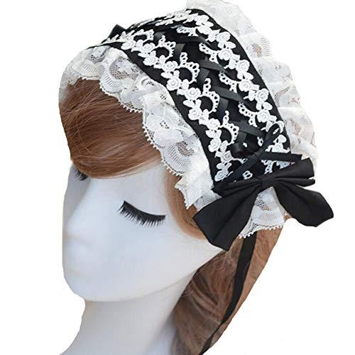 BLESSI Women's Lace Lolita Lace Headdress Hair Accessories (Black)