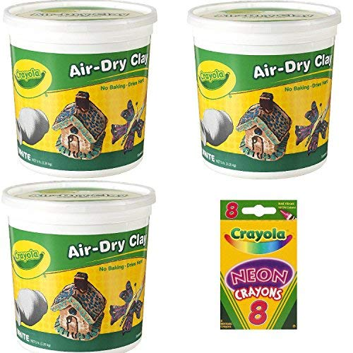Crayola Air-Dry Clay, White, 5 pounds Resealable Bucket, For Classroom, Educational, Art Tools, 3 Pack (15 pounds Total) ()