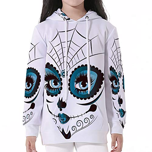 Cotton Pullover Hoodies,Skull,Graphic of Cute Dead Skull Teen Girl Face with -