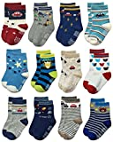 Deluxe RB-71518 Non Skid Anti Slip Slipper Cotton Crew Socks With Grips For Baby Toddlers Kids Boys (3-5 Years, 12 designs/RB-71218)