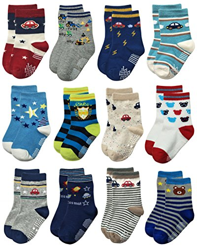 RATIVE Non Skid Anti Slip Crew Socks With Grips For Baby Toddlers Boys (9-18 Months, 12 designs/RB-71218)
