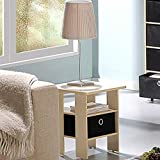 Modern Night Stand, Wooden, Steam Beech/Black Color, Easy Assembly, Multi-Use, Portable, Fits Everywhere, Durable Compact Construction & E-Book Home Decor