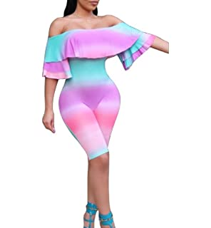 a943140411 Zimaes-Women Gradients Accept Waist Flounced Hem Cold Shoulder Rompers  Shorts