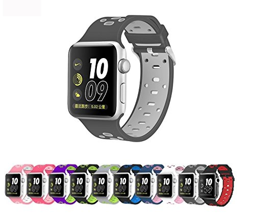 Apple Watch Silicone Replacement Band, Sport Edition by Pantheon,Strap fits the 38mm or 42mm Apple Watch 1, 2, 3 and Nike edition - Square Hole (42MM) (42 Mm Water)