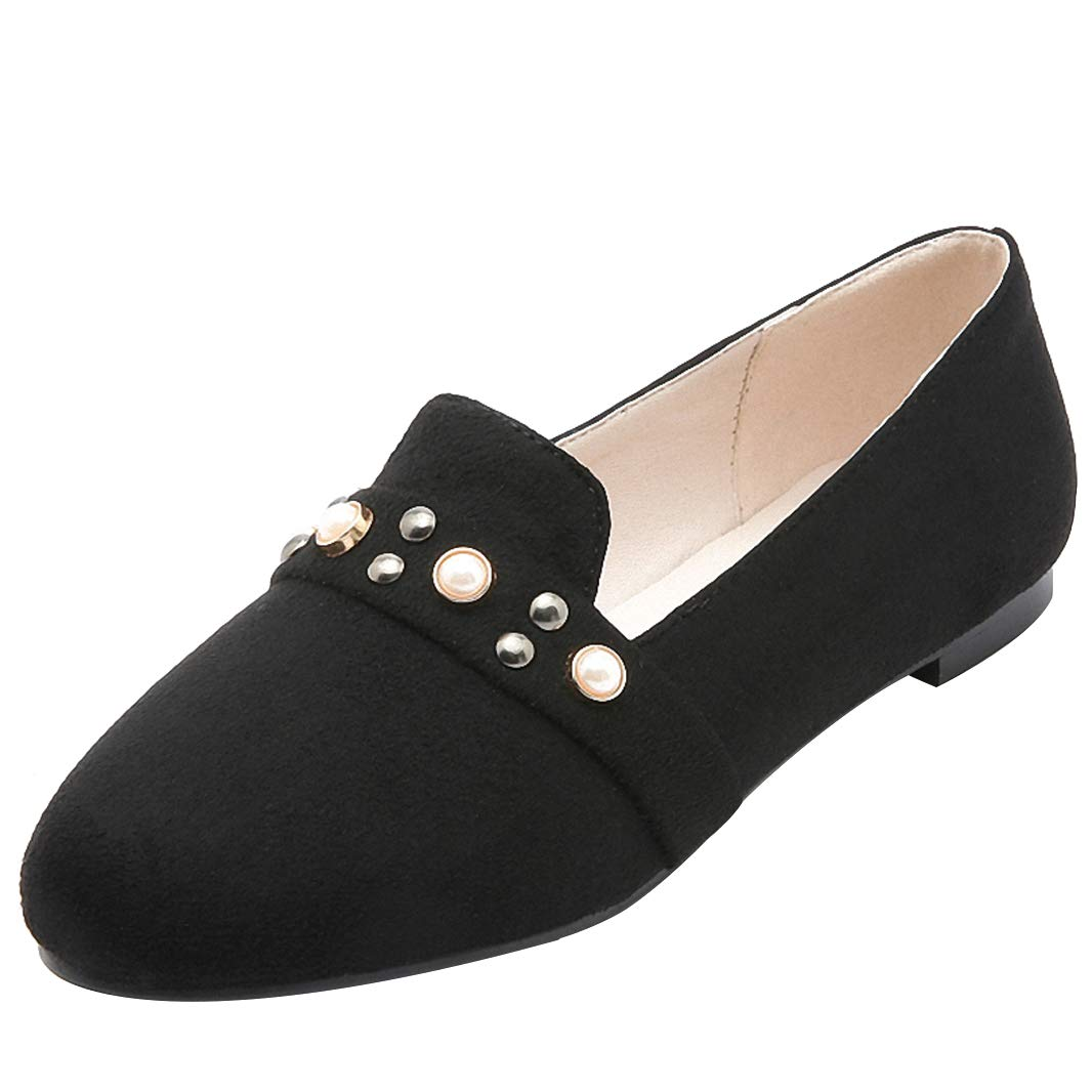 Eithy Pearl Rivet Suede Penny Loafers for Women Flats Shoes Black US 11.5