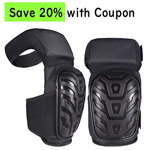 Professional Knee Pads for Work with Heavy Duty Foam Padding and Comfortable Gel Cushion Strong Double Adjustable Non-Slip Straps Great for Construction Gardening Flooring Cleaning (Thigh High) ...