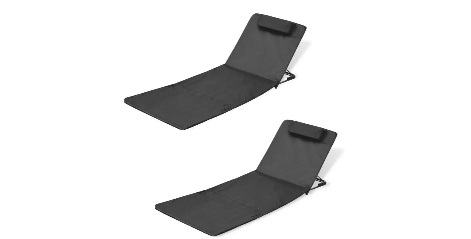 K&A Company Folding Beach Mat Backrest 2 Pcs Black