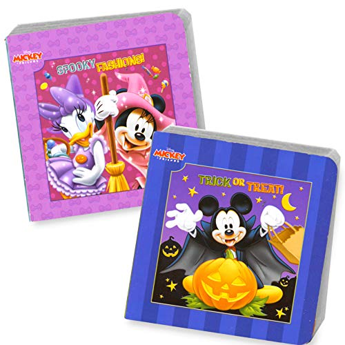Disney Mickey Mouse and Minnie Mouse Halloween Board Book Set For Kids Toddlers with Halloween Stickers(Set of 2 Small Board -
