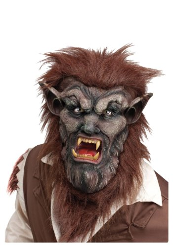 Fun World Men's Wolf Man Mask Costume Accessory Accessory, -Multi, Standard Wolfman Deluxe Mask