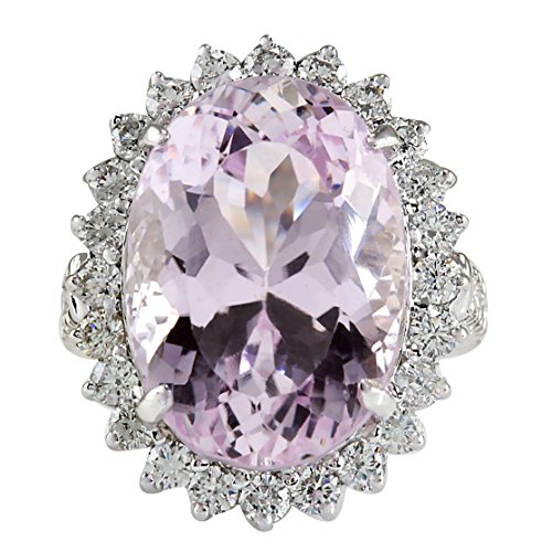22.00 Carat Natural Kunzite 14K White Gold Diamond (Kunzite Ring)