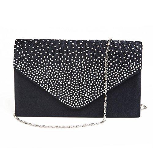 Ladies Evening Satin Bridal Diamante Ladies Clutch Bag Party Prom Envelope Style Clutch (Dark (Clutch Style Evening Bag)