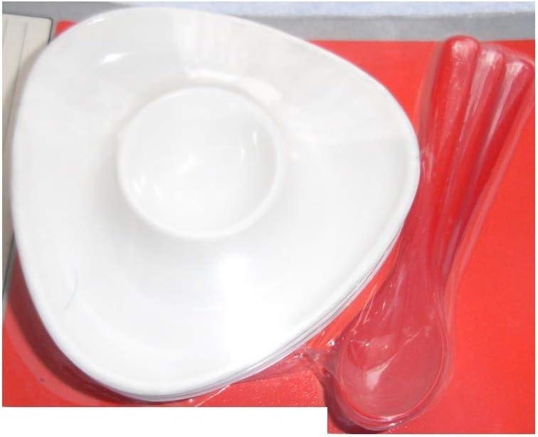 dreieckig, wei/ß Wenco 3X Eierbecher mit L/öffel Kunstoff//Eierst/änder Eierbeh/älter stapelbar Sp/ülmaschinen-geeignet