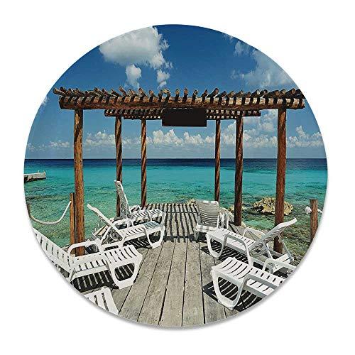 YOLIYANA Travel Decor Bright Decorative Plate,Beach Sunbeds Ocean Sea Scenery with Wooden Seem Pier Image for Weddings,7 inch (Pier 1 Plates Zebra)
