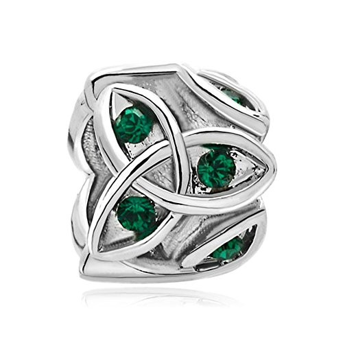ReisJewelry Heart Best Friend Irish Claddagh Celtic Trinity Knot Charm Green Crystal Charms For Bracelet (Celtic Trinity Knot Love) (Celtic Charm Womens)