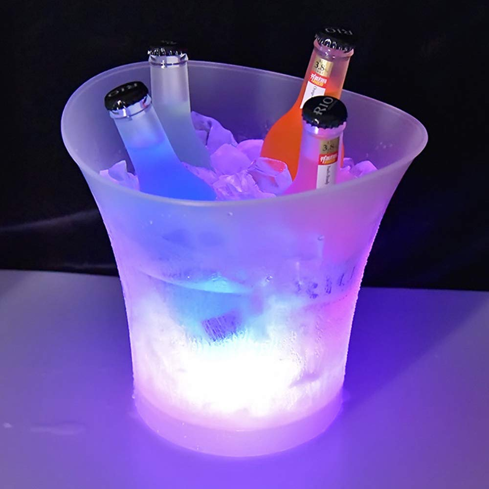 Colorful LED Ice Bucket, 5L Luminous Ice Bucket Blinking Beer Wine Whisky Vodka Martini Ice Container for Holiday Party Bar Club Bar Set,Colorful by YANGMAN-Wine