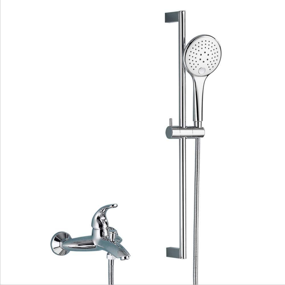HXYL Badezimmer Wandmontage-Dusche, Badewannenarmaturen mit Dusche, Bad-Duschset aus Edelstahl mit Hubstange, warmes und kaltes Mischwasser DREI Wassermodi