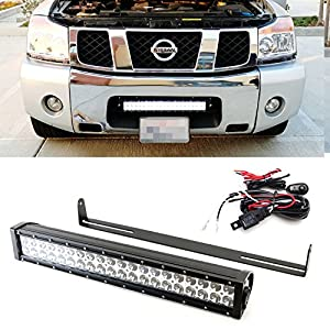 Amazon ijdmtoy 20 120w high power led light bar w lower ijdmtoy 20 120w high power led light bar w lower bumper grille mounting brackets and onoff switch wiring kit for 2003 2015 2017 up nissan titan aloadofball Choice Image