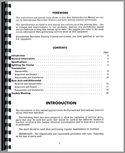 (Farmall H Tractor Transmission and Final Drive Service Manual )