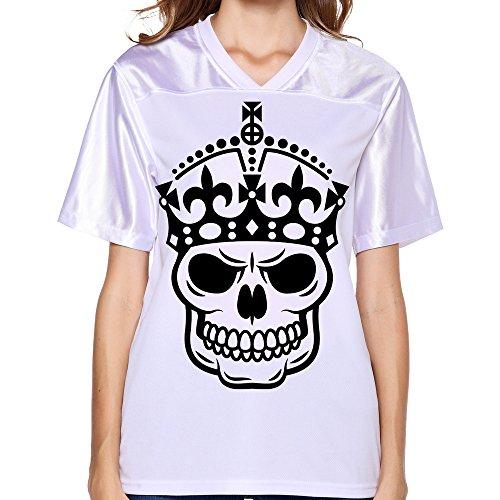 DonSir Crown Skull Keep Calm Women Sports Team Uniform Soccer Jersey S White