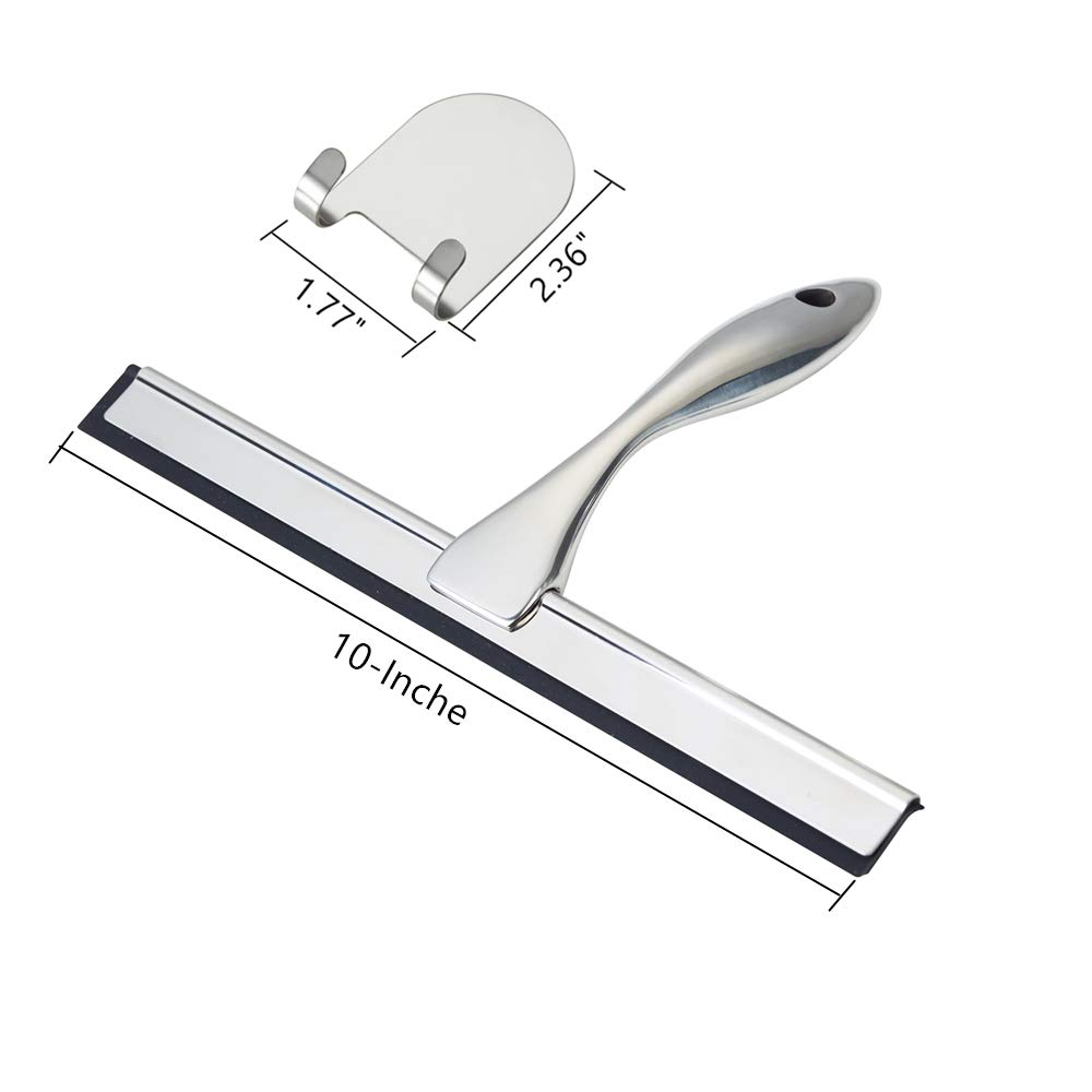 VELIMAX Premium Shower Squeegee for Shower Doors Stainless Steel All-Purpose Glass Squeegee for Cars Bathroom with 2 Hooks
