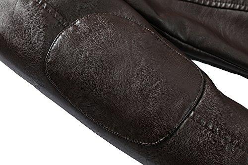 Herren Lederjacke Mens PU Leder Jacken BiSHE Slim Smart Fit Fleece Harrington Jacke Mantel (Kaffee DE L)