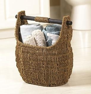 Seagrass Basket With Wooden Handle 13  X ... & Amazon.com: Medium Seagrass Wood Handle Basket: Home u0026 Kitchen