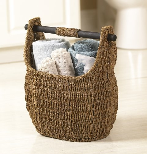 Seagrass Basket With Wooden Handle 13
