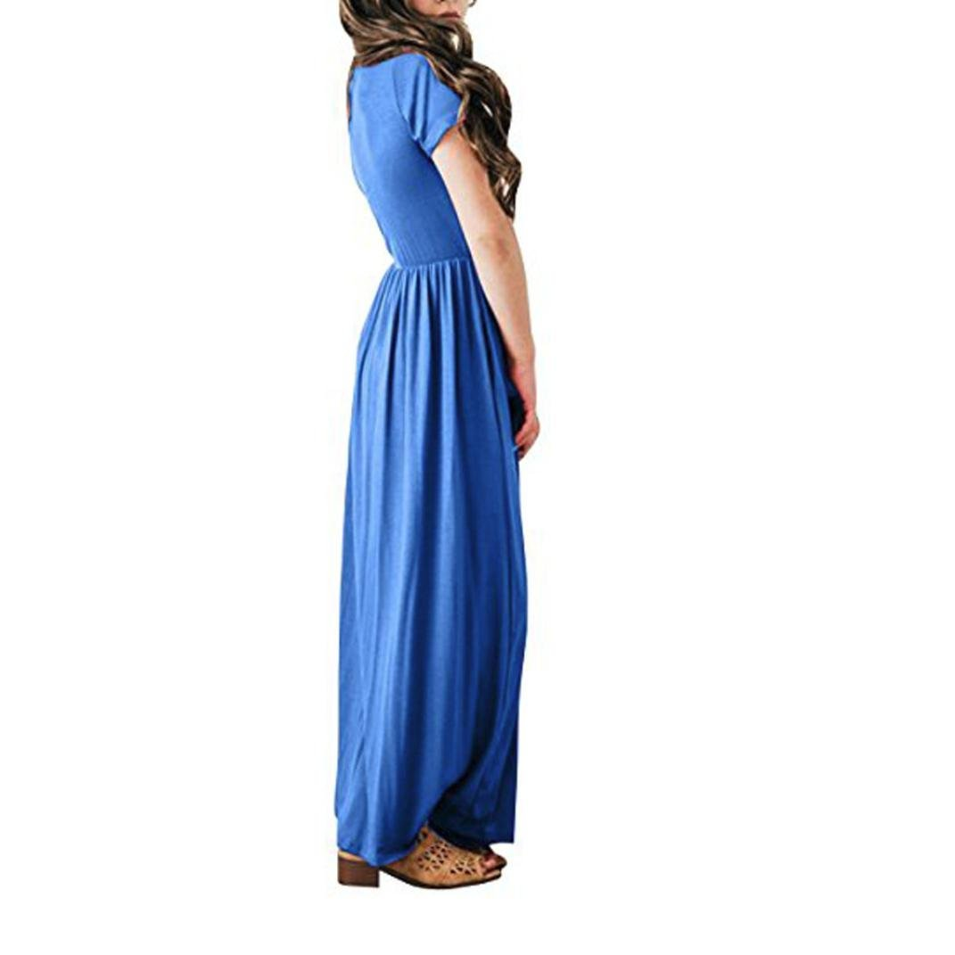 Veepola Kid Girls Solid Dress Casual Sundress Beachwear Floor-Length Long Dresses