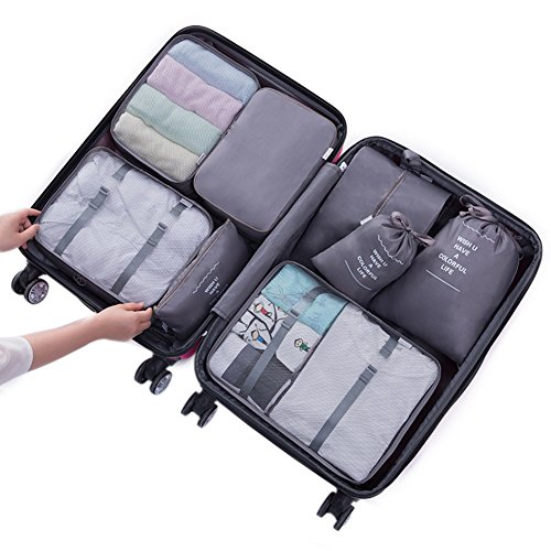 Belsmi 8 Set Packing Cubes - Waterproof Mesh Compression Travel Luggage Packing Organizer With Shoes Bag (Grey)
