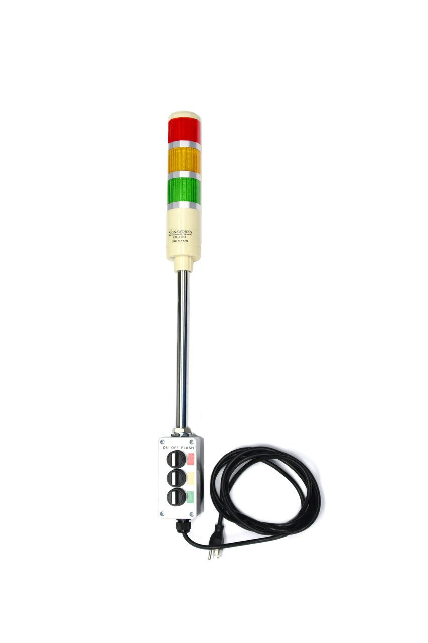 Signaworks 3 Stack Super Bright LED Andon Tower Light, 3 Pos On-Off-Flash, Red/Amber/Green, 8 ft Power Cord, Plug & Play Ready