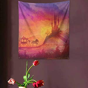 VVA Fantasy Tapestry Wall Hanging,?Fantasy Gothic Medieval Castle and Carriage with Horse Imaginary Kingdom Printream Wall Decor Blanket for Bedroom Home Dorm,? Purple Orange